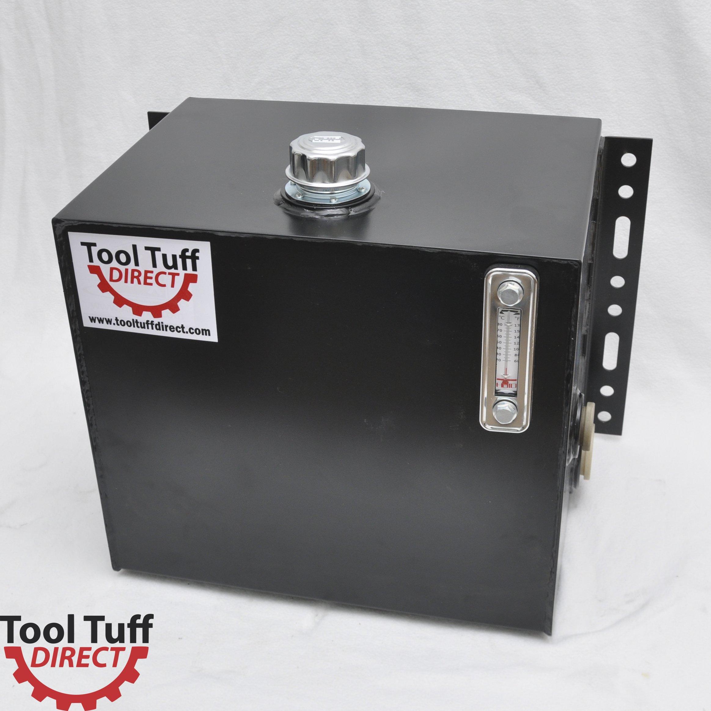 Tool-Tuff 25-Gallon Hydraulic Fluid Reservoir Tank, Side Vertical-Mount, w/Temp Gauge, Sight-Gauge & Breather/Strainer Fill Cap