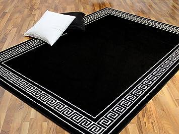 Trendline teppich schwarz weiß römische bordüre 4 größen: amazon.de