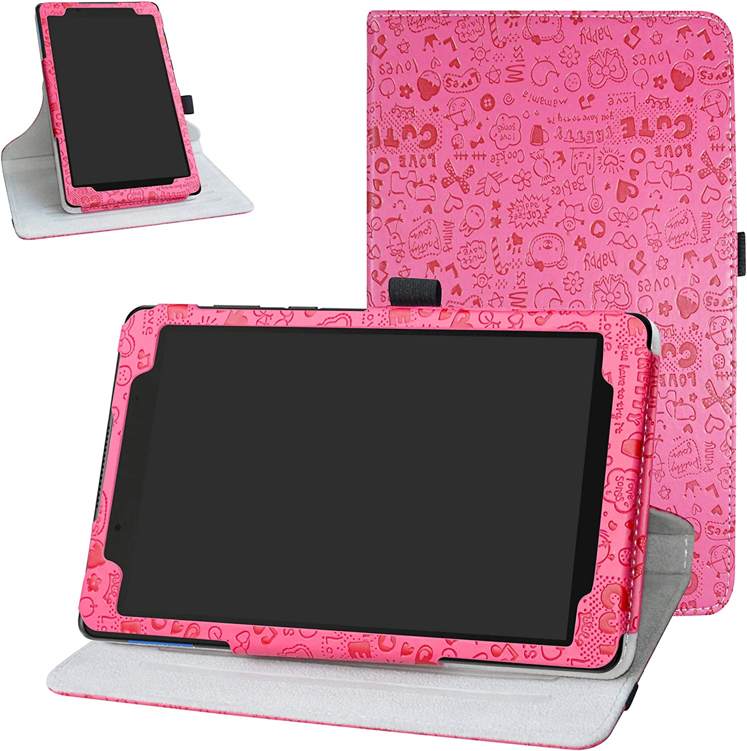 Lenovo Tab E8 2018 Rotating Case,Bige 360 Degree Rotary Stand with Cute Pattern Cover for 8