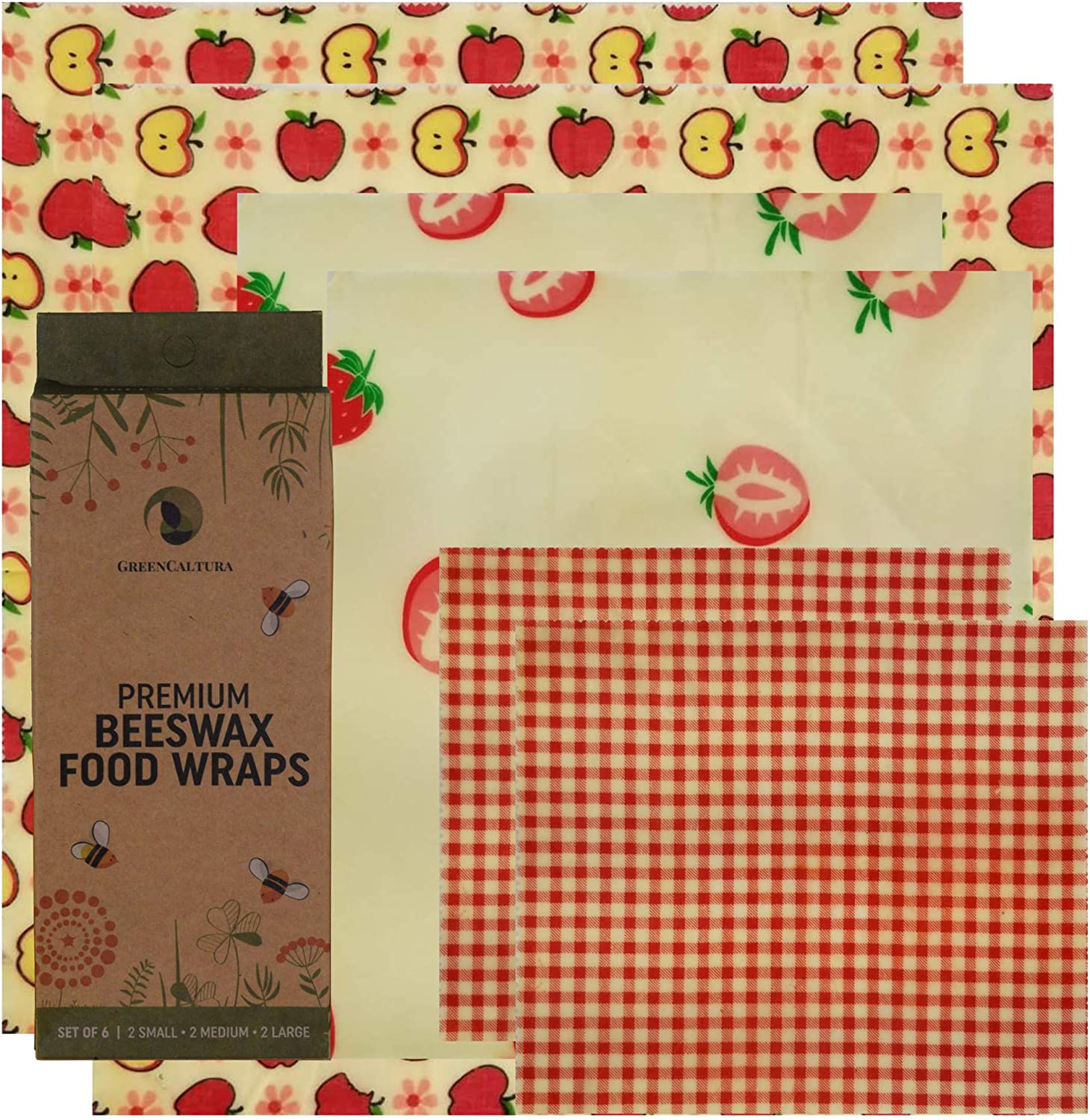 Beeswax Food Wrap - Organic Beeswax and GOTS Cotton - Reusable Food Storage - Eco Sustainable Replacement for Single Use Plastic (pink/red, 6)
