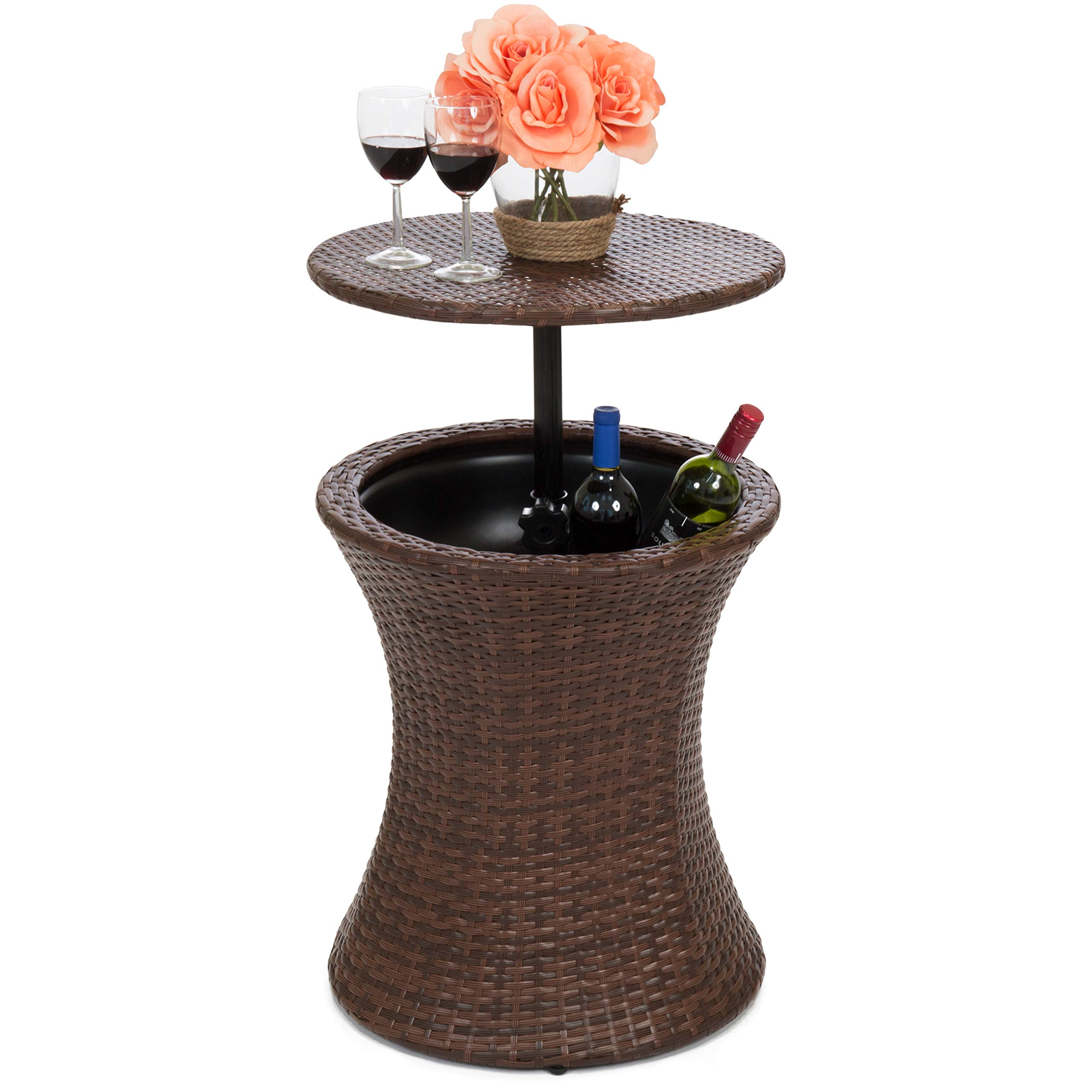 Best Choice Products 7.5-Gallon Outdoor All-Weather Wicker Patio Pool Cooler Bar Table w/Adjustable Top - Brown