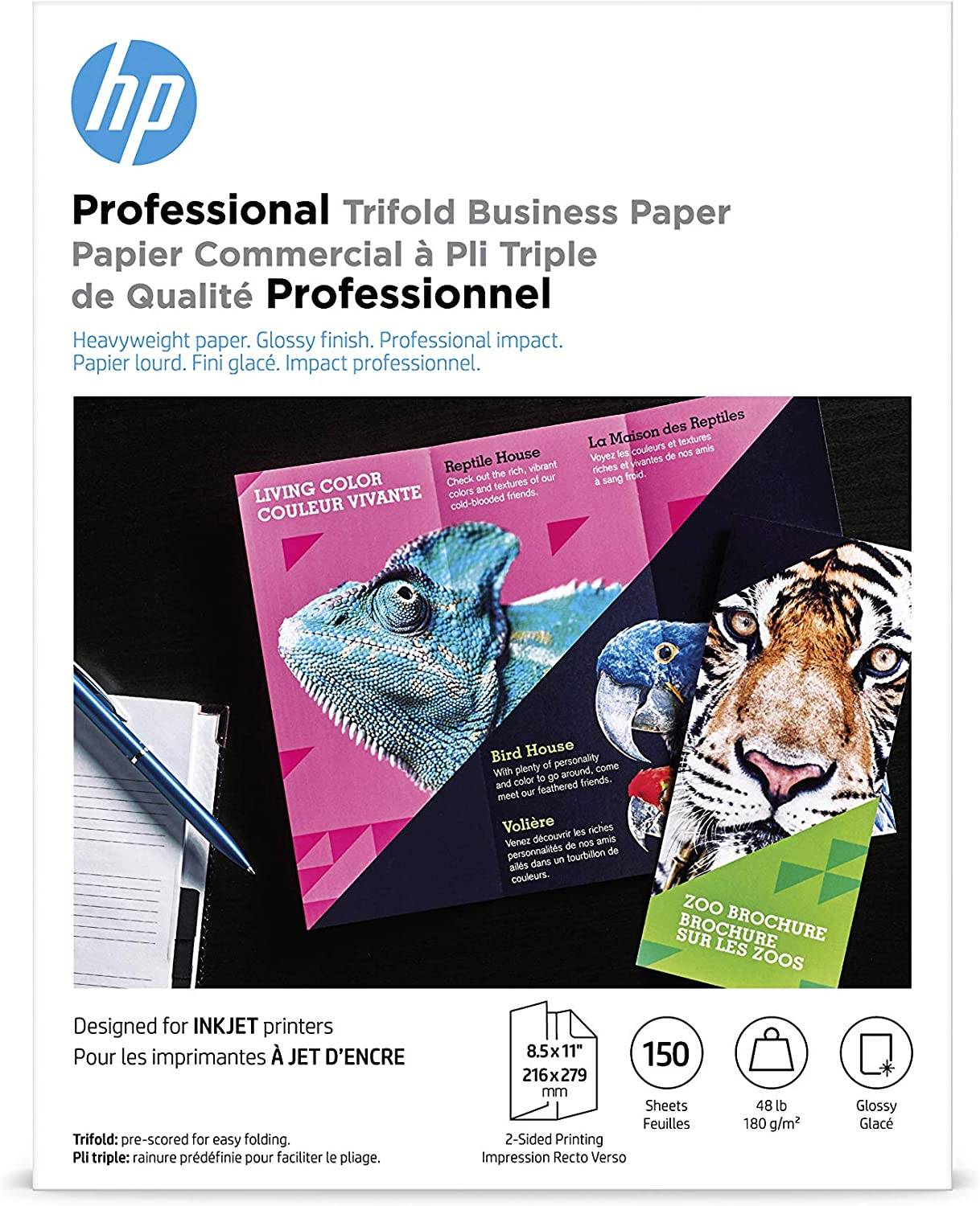 HP Brochure Paper |Glossy Professional Trifold Inkjet| 8.5x11 | 150 Sheets
