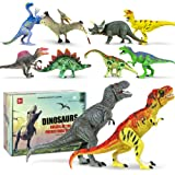 "Dinosaur Toys Toy Dinosaurs [18 ITEMS SUPER SET] [USA SELLER] Boys Girls Kids - 3 4 5 + Year Old Age Gift Jurassic Age Park Large Big 2 T Rex, Spinosaurus, Raptor, Egg, Book, Stickers, Playset (6""-9"")"