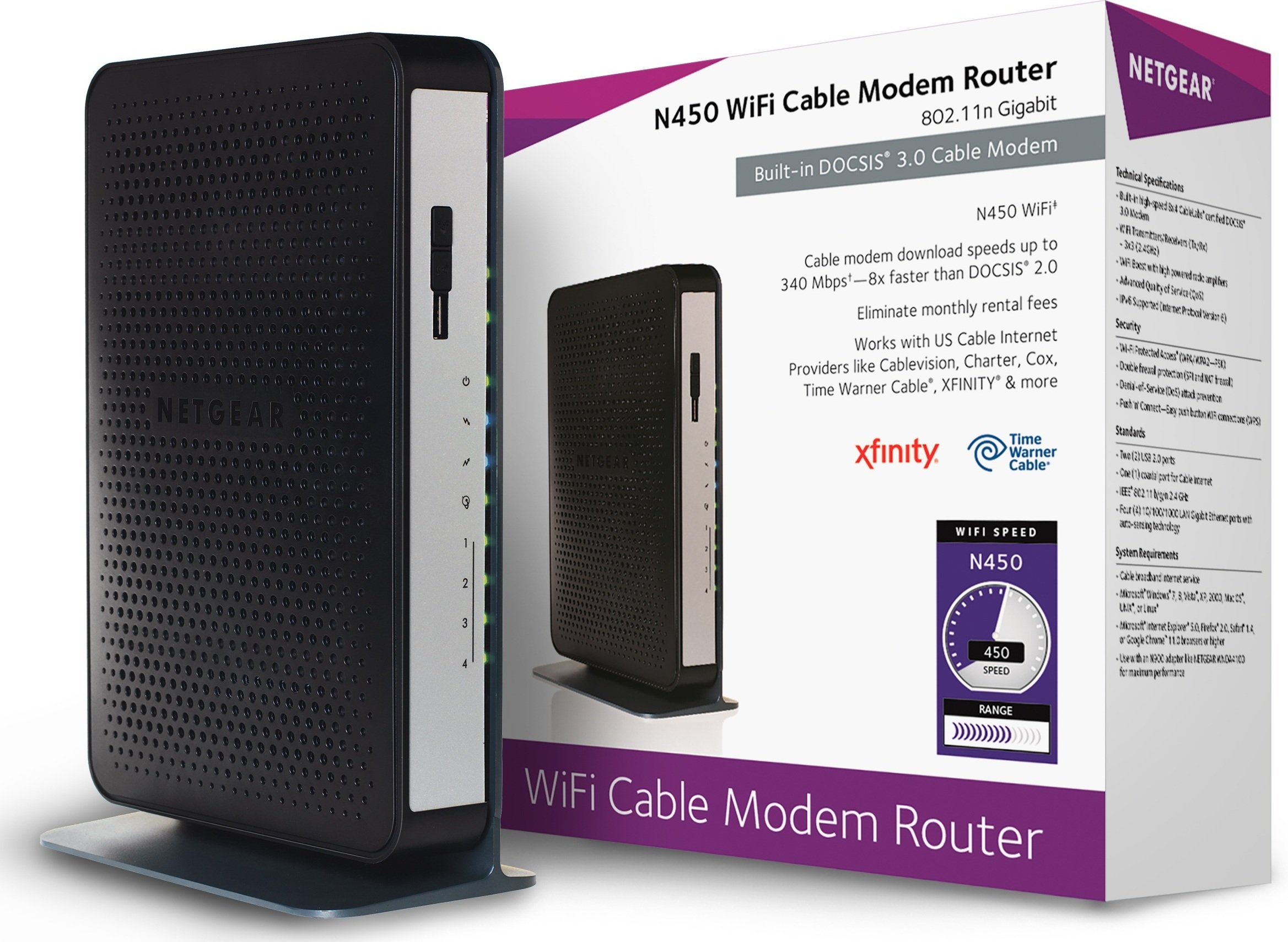 NETGEAR N450-100NAS (8x4) WiFi DOCSIS 3.0 Cable Modem Router (N450) Certified for Xfinity from Comcast, Spectrum, Cox, Cablevision & More by NETGEAR