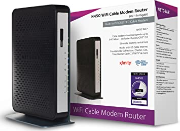 NETGEAR N450-100NAS (8x4) WiFi DOCSIS 3 0 Cable Modem Router (N450)  Certified for Xfinity from Comcast, Spectrum, Cox, Cablevision & More
