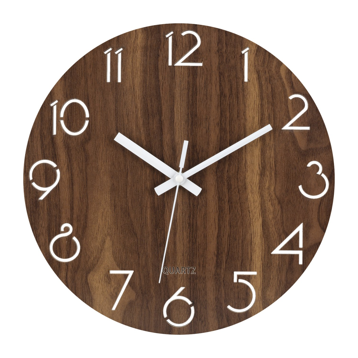 Ryuan 12 inch simplicity Wooden Wall Clock, Silent Non Ticking Quality Quartz Battery Operated Numeral Design Rustic Country Tuscan Style Decorative Round Clock (Dark Brown)
