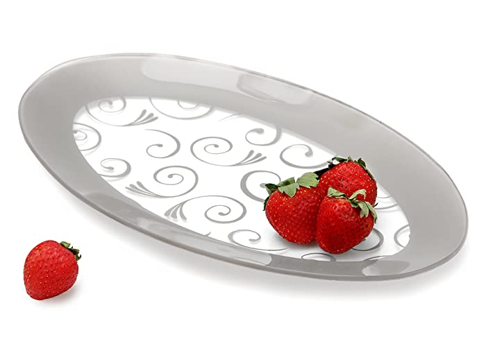GAC Tempered Glass Oval Platter Serving Tray and Decorative Plate Unbreakable - Chip Resistant - Oven Proof - Microwave Safe - Dishwasher Safe - Stackable (silver)