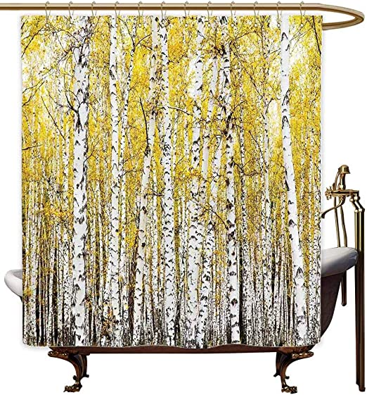 Hand Painted Birch Forest Fall Autumn Fabric Waterproof Bathroom Shower Curtain