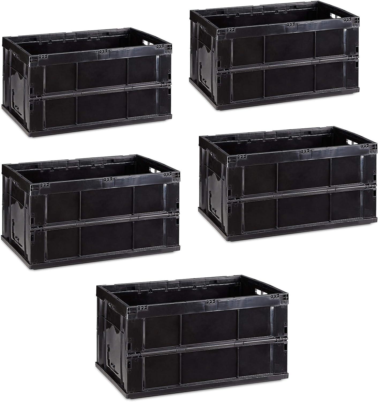 Relaxdays Pack de 5 Cajas de Almacenaje Plegables 60 L, Plástico, Negro, Pack de 2 Cajas de Almacenaje Plegables 60 L, Plástico, Negro, 31.5 x 58.5 x 40 cm: Amazon.es: Hogar