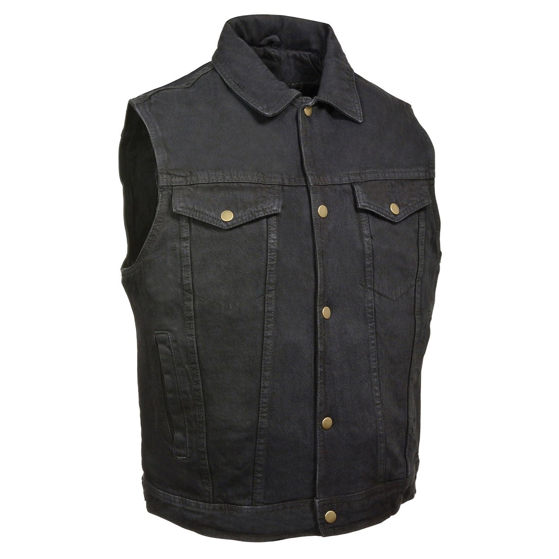 ZOOM LEATHER-Men's Snap Front Denim Vest w/Shirt Collar-BLACK-3XL Shaf International Inc. ZLM2662-BLACK-3X