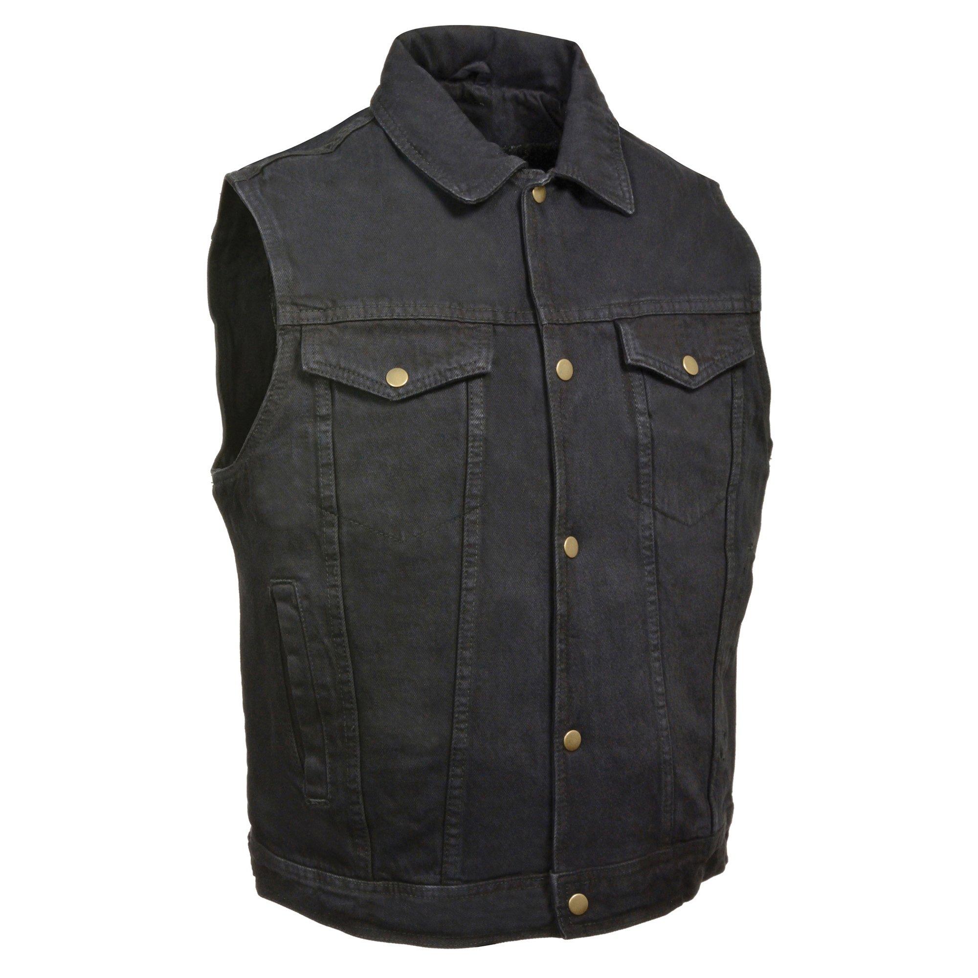 ZOOM LEATHER-Men's Snap Front Denim Vest w/Shirt Collar-BLACK-MD