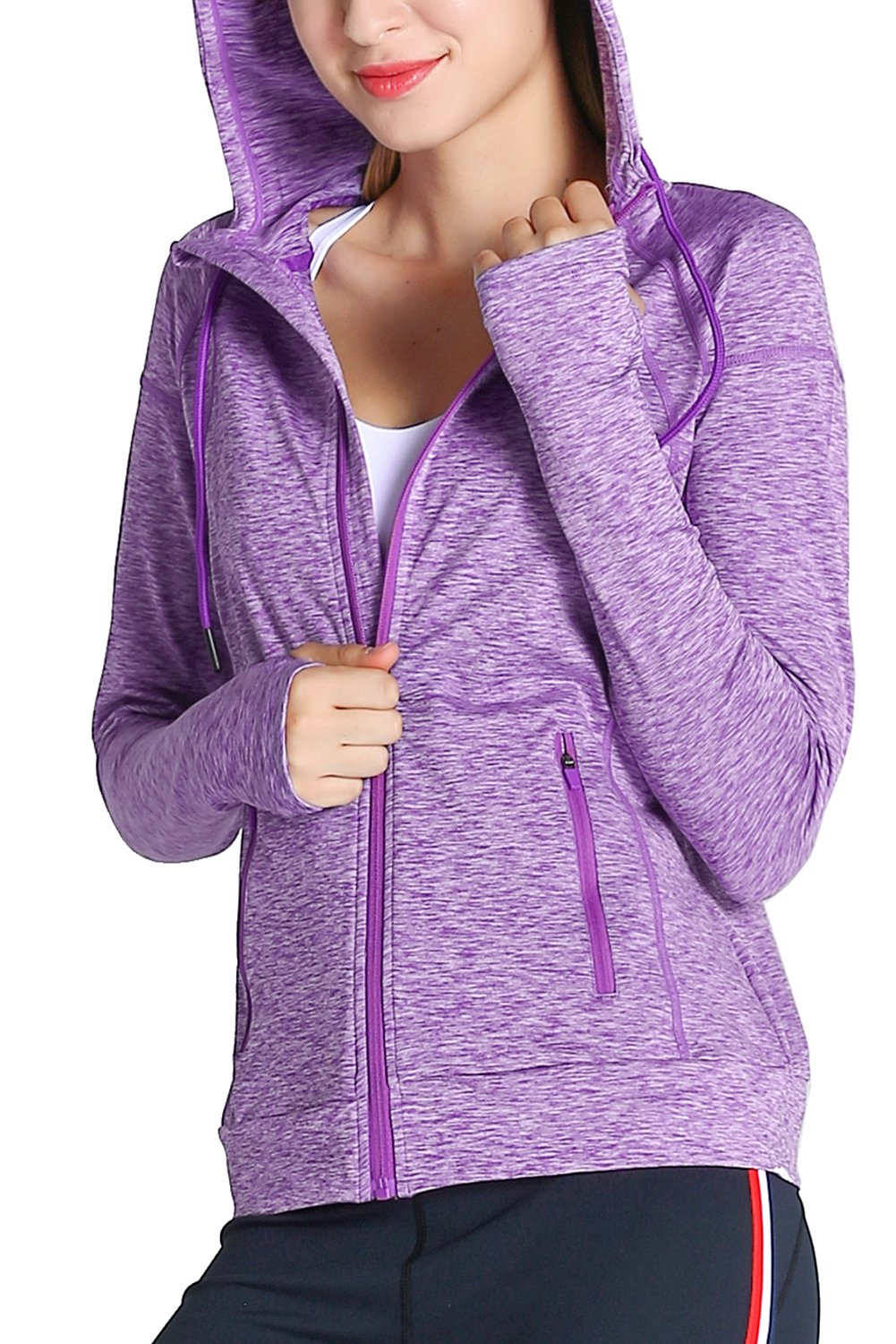 Fastorm Womens Full Zip Athletic Jacket Hoodie Activewear Workout Sweatshirt Track Jackets with Thumb Holes Purple L by Fastorm