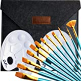 Ownuzz 12Pieces Round Pointed Tip Nylon Hair Brush Set With 2 Piece Paint Tray Palette with 1 Piece hand Case