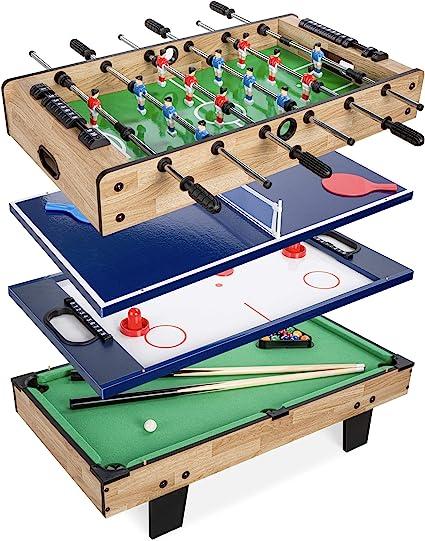 Best Choice Products 4 En 1 Mesa De Juego Multijuego Juego De Juegos Para Niños Sala De Juegos Sala De Recreación Con Billar Hockey De Aire Futbolín Y Tenis De Mesa