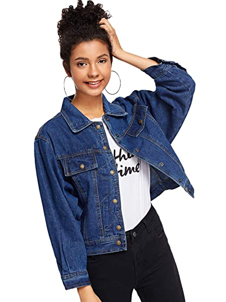 bee30f448f SheIn Women's Casual Ripped Plain Button Down Denim Jacket at Amazon ...