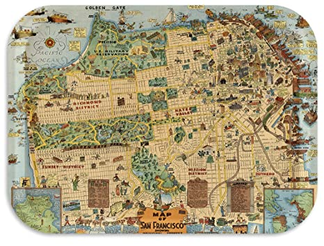 Trays4Us San Francisco 1927 Whimsical Map Birch Wood Veneer 11x8 inches  (Medium) TV/Serving Map Tray - 100+ Different Designs