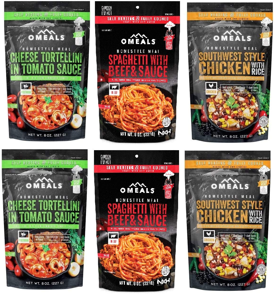 Omeals Self-Heating Portable Meals, 6-Pack - Includes 2 Cheese Tortellini, 2 Spaghetti with Beef and 2 Southwest Chicken Food Packs - Lightweight, Compact and Easy to Store for Emergency