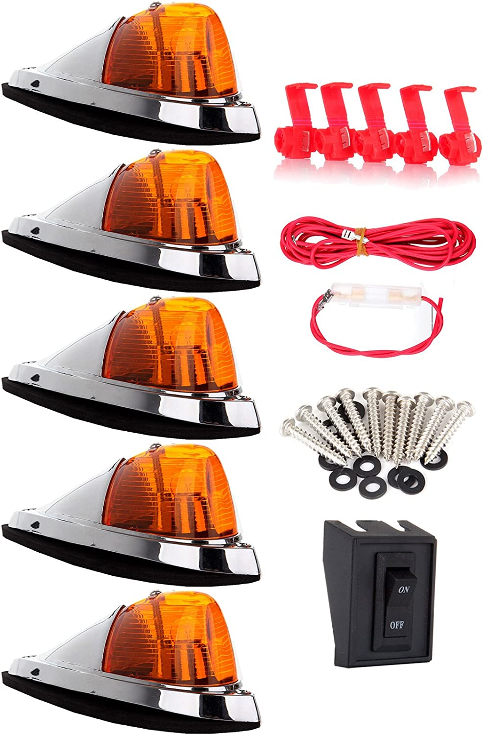 1 Set Wiring Pack Switch Assembly Wire Harness For Truck Trailer Waterproof Semi-trailer ECCPP 5x Amber Cab Marker Roof Top Clearance Light Replacement