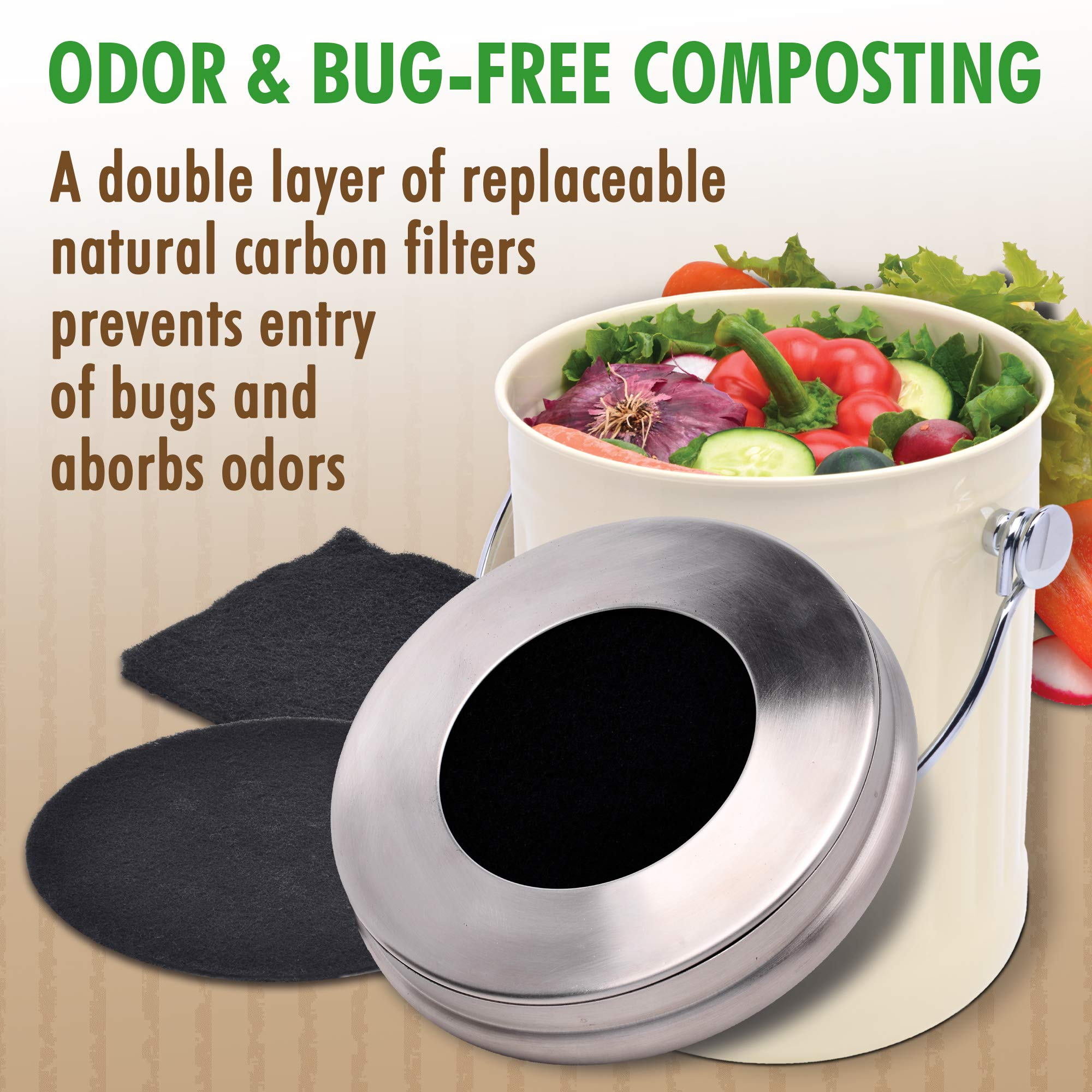iTouchless EcoWise Compost Bin Container Dual Deodorizer Activated Carbon Filters, 1.32 Gallon Kitchen Trash Can, Stainless Steel Lid, Odor-Stopping Power, Cream by iTouchless (Image #2)