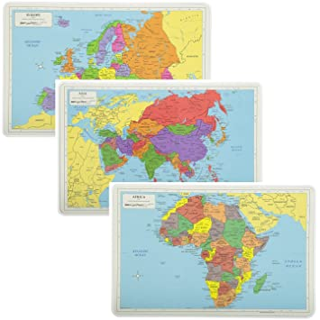 Map Of Africa Europe And Asia.Painless Learning Educational Placemats Europe Asia And Africa Maps Set Non Slip Washable