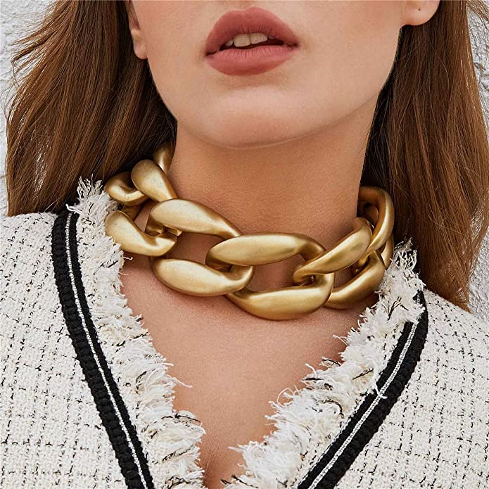 Ingemark Statement Punk Chunky Chain Necklace for Women Girls Personalized Chic Hip Hop Chain Link Choker Necklace