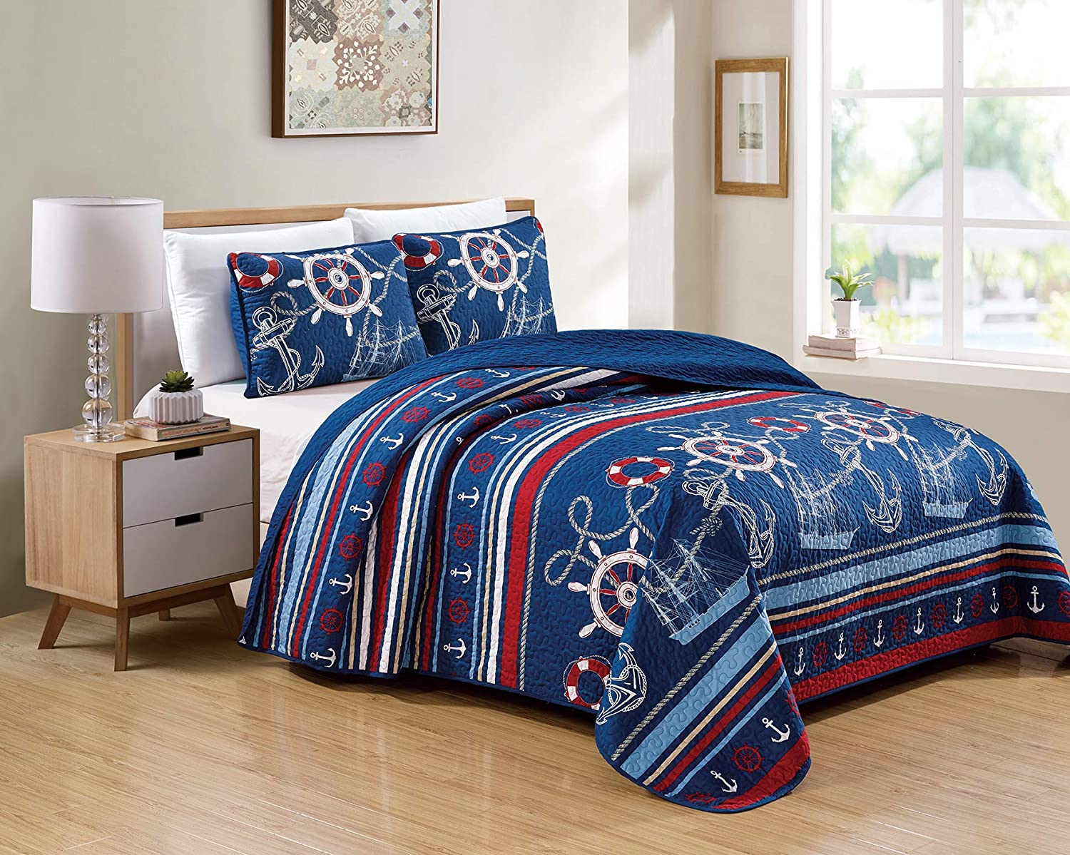 Better Home Style 3 Piece Light & Dark Blue White Red Striped Nautical Ships Helms Anchors Sailor Printed Design Quilt Coverlet Bedspread Oversized Bed Cover Set # 10586 (King/Cal-King)