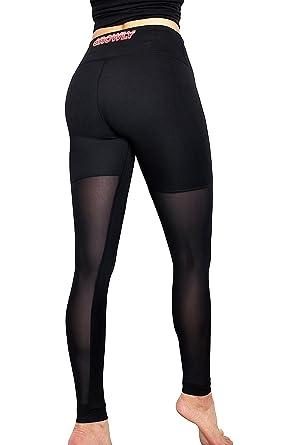 Gemeinsame Growly Damen Sporthose Hochwertig Yoga schwarz lang eng Netzhose #LQ_99
