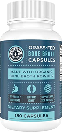 Grass-Fed Bone Broth Capsules with Collagen from Organic Bone Broth Powder. 180 Caps. Collagen Supplement from Organic Bone Broth Powder. Supports Nails, Hair, Joints and Digestive Health*.