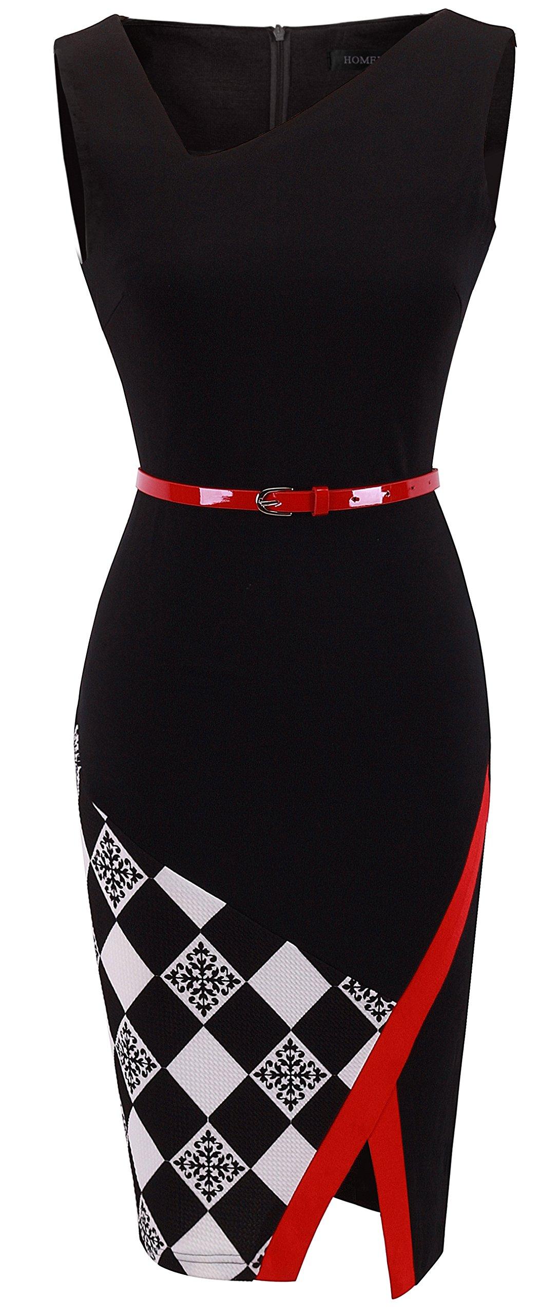 HOMEYEE Women's Elegant Patchwork Sheath Sleeveless Business Dress B290 (XL, Black)