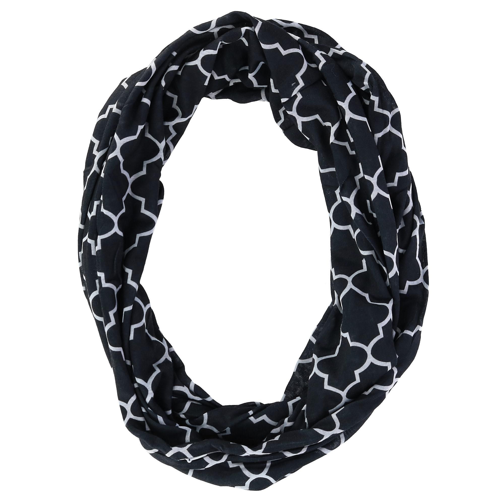 CTM Women's Pattern Infinity Loop Scarf with Hidden Zipper Pocket, Black