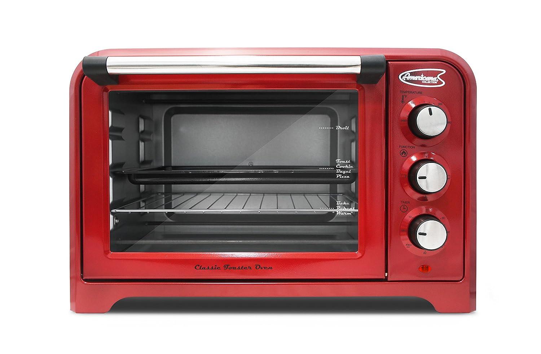 """Maxi-Matic ERO-2600R Americana Collection Retro 6 Slice/12"""" Pizza Toaster oven, Red 6 slice"""