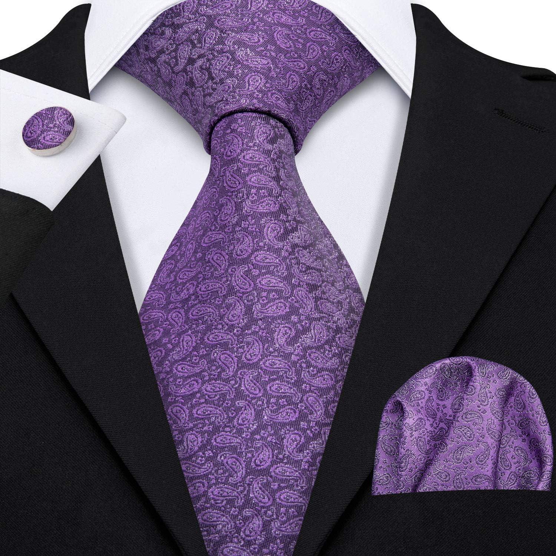 Barry.Wang Herren Krawatte und Einstecktuch Seide Einfarbig Schlips Business Feines Diagonalstreifen Muster