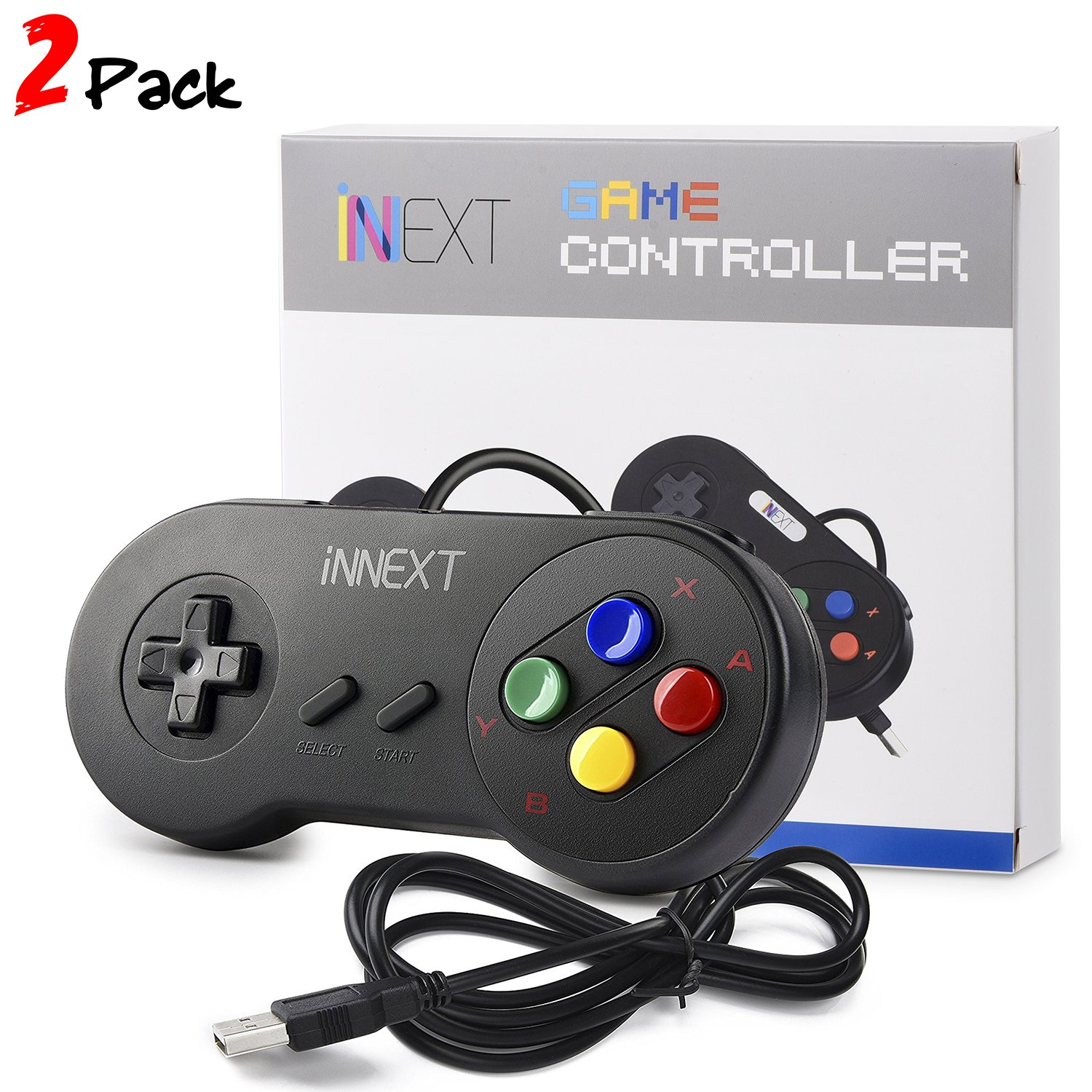 iNNEXT 2 x SNES USB-Controller PC Gamepad Joypad SNES Controller Gamepad fü r Windows PC Mac Y-D002