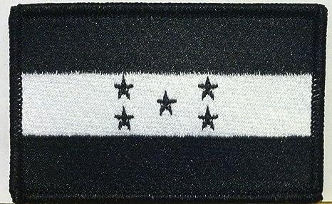 Bordado de bandera de Honduras w/VELCRO moral parche blanco y negro versión hombro emblema negro frontera # 17: Amazon.es: Juguetes y juegos