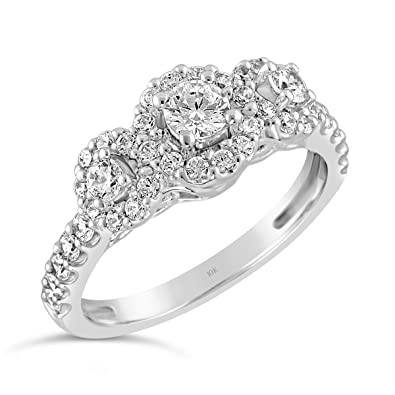 46668baf22d68 Brilliant Expressions 10K White Gold 3/4 Cttw Conflict Free Diamond ...