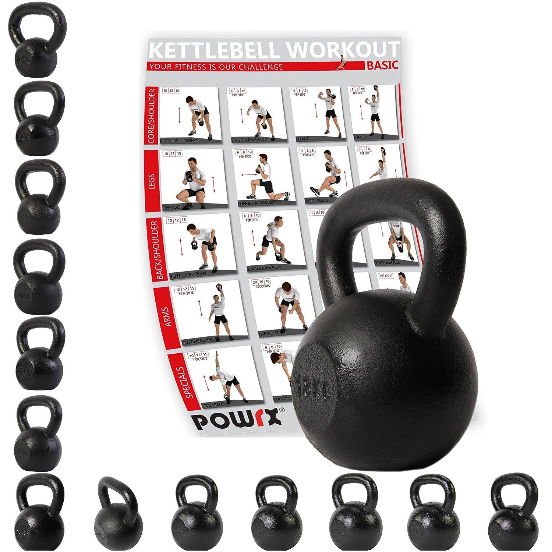 Kettlebell hierro fundido 4 kg, 6 kg, 8 kg, 10 kg, 12 kg, 14 kg, 16 kg, 18 kg, 20 kg - Ideal para la práctica del entrenamiento funcional y del potenciamiento muscular tanto en tu propia casa como en el gimnasio - Pesas rusas (4 kg) POWRX