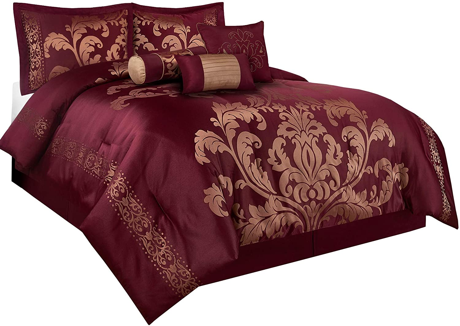 Amazon.com: Chezmoi Collection 7 Piece Jacquard Floral Comforter