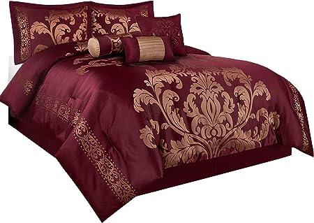 Chezmoi Collection Royale 7-Piece Jacquard Floral Comforter Set Black//Gold