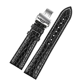 f2402a876 Image Unavailable. Image not available for. Color: 18mm Black Alligator  Leather Replacement Watch Straps/Bands ...