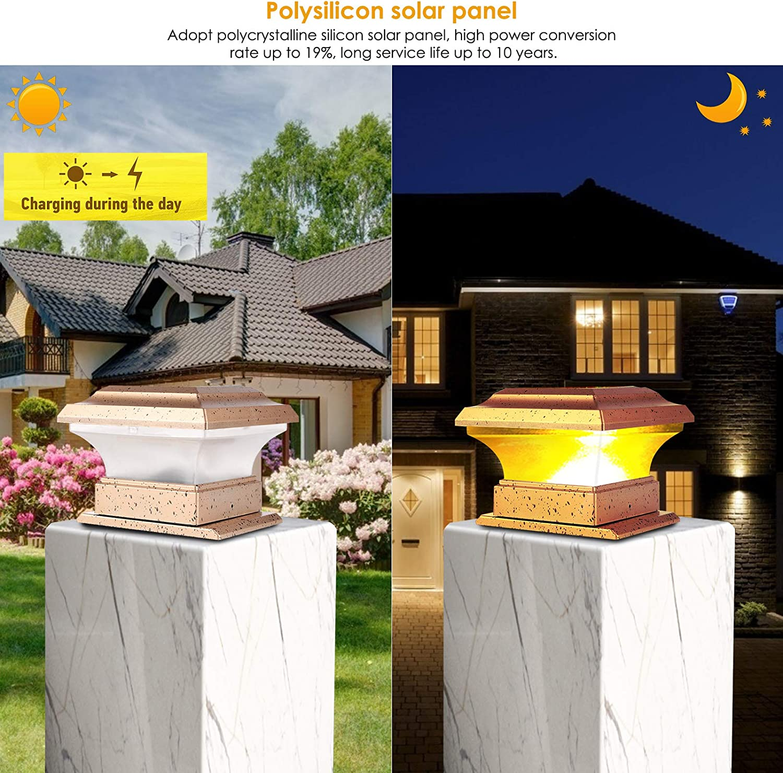 SunshineFace Pilier Lumi/ère Solaire Puissance Cl/ôture Poteau Lumi/ères /Étanche Jardin Ext/érieur Paysage Cour Pilier Lampe Lumi/ère Chaude