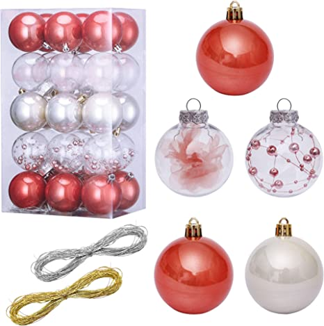 Lessmo 30 Pcs 60mm 2 37 Christmas Ball Ornaments Shatterproof Christmas Decorative Tree Balls Hanging Christmas Ornament Baubles Set For Holiday Wedding Party Decor Tree Ornaments Home Kitchen