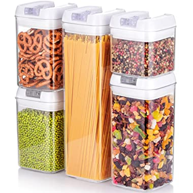 ME.FAN Air-Tight Food Storage Container Set - [5-Piece Set] - Durable Seal Pot- Cereal Storage Containers - For Dry Foods & Liquids - Kitchen Space Saving - BPA Free - Clear Containers with White Lids