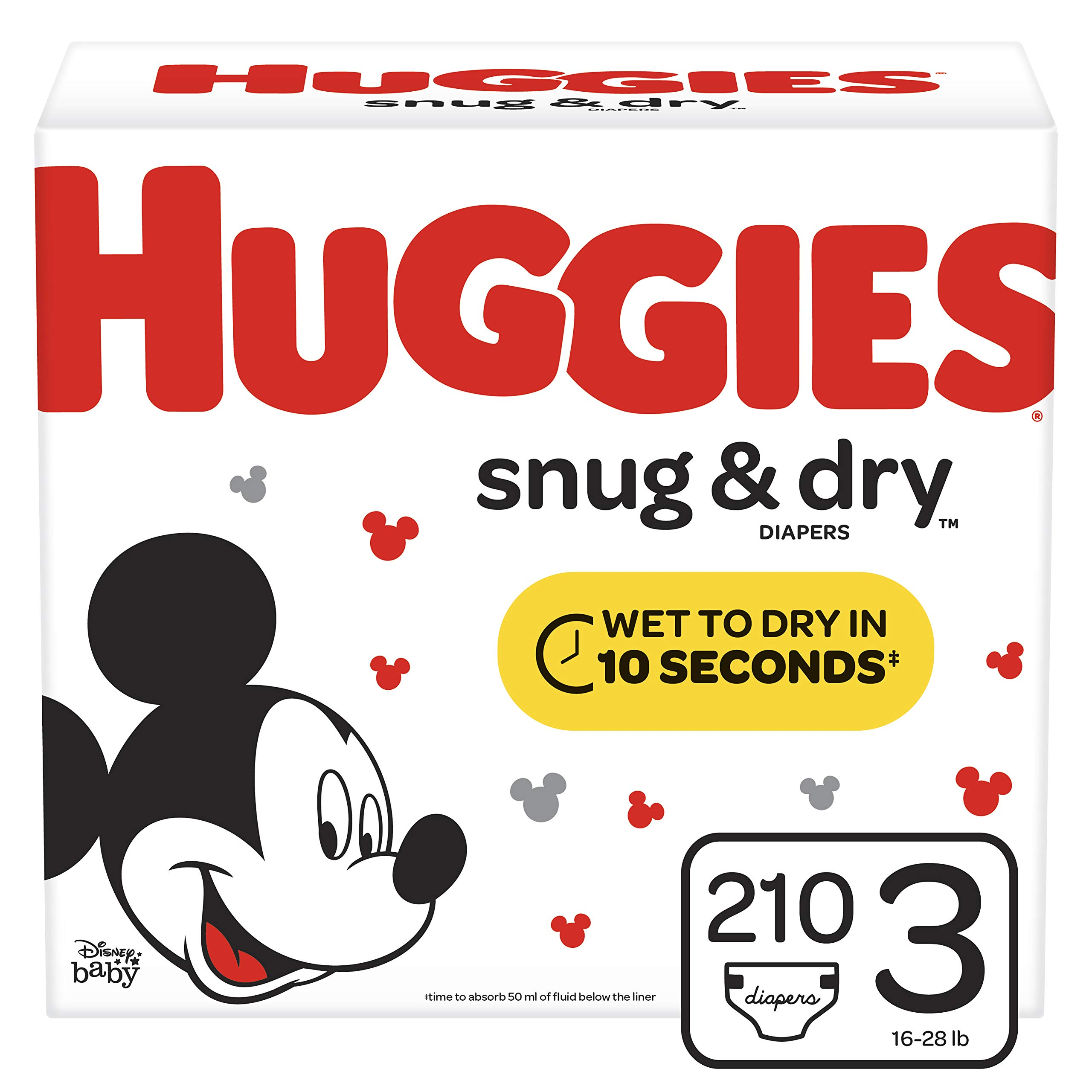 Huggies Snug & Dry Diapers, Size 3 (16-28 lb.), 210 Ct, One Month Supply (Packaging May Vary) by HUGGIES