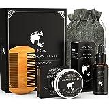 Beard Growth Kit, Arlega 6 In 1 Beard Kit For Men with Beard Growth Oil, Beard Balm, Beard Comb, Storage Bag, Best Gifts for