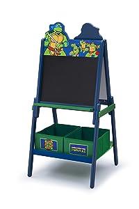 Delta Children Wooden Double Sided Activity Easel with Storage,Nickelodeon Teenage Mutant Ninja Turtles