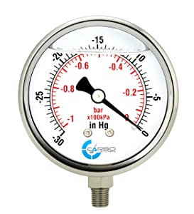 "CARBO Instruments 4"" Pressure Gauge, Stainless Steel Case, Chrome Plated Brass Connection, Lqiuid Filled, Vacuum -30 Hg/0, Lower Mount 1/4"" NPT"