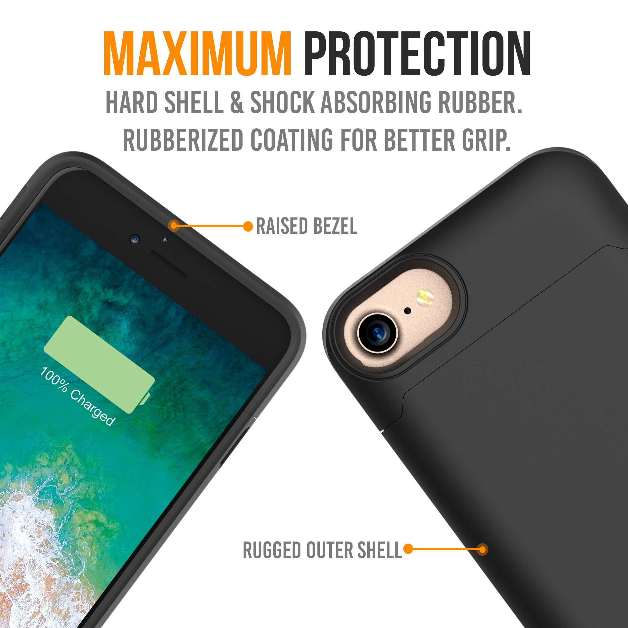 iPhone 7 Battery Case, Alpatronix BX180 4.7-inch 3200mAh Ultra Slim External Rechargeable Extended Protective Portable Charging Case & Charger Cover for iPhone7 [Apple Certified Chip] - Matte Black by Alpatronix (Image #2)