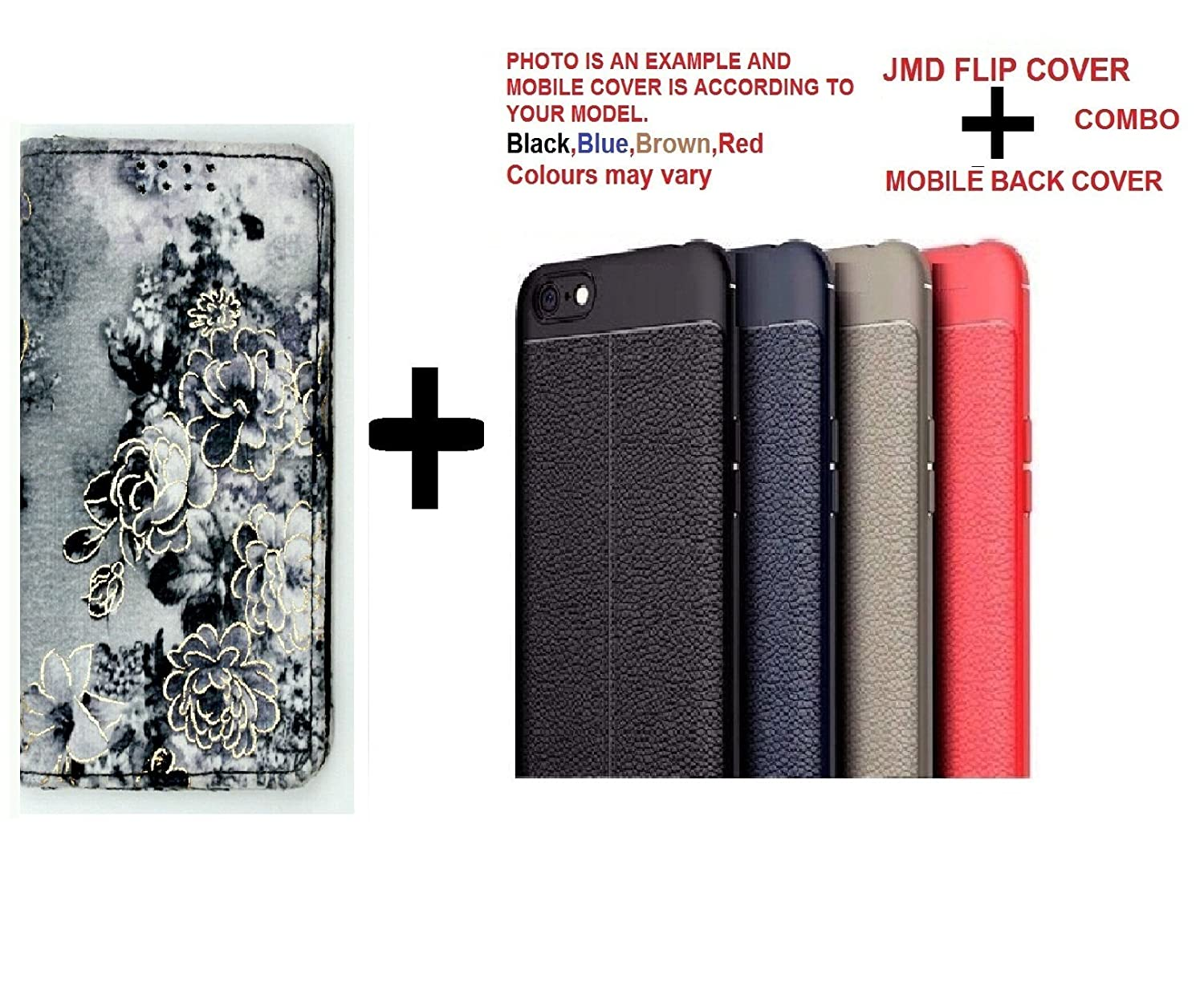Micromax Q424 MOBILE FLIP COVER + ONE MOBILE BACK CASE COVER (COMBO) BY JMD