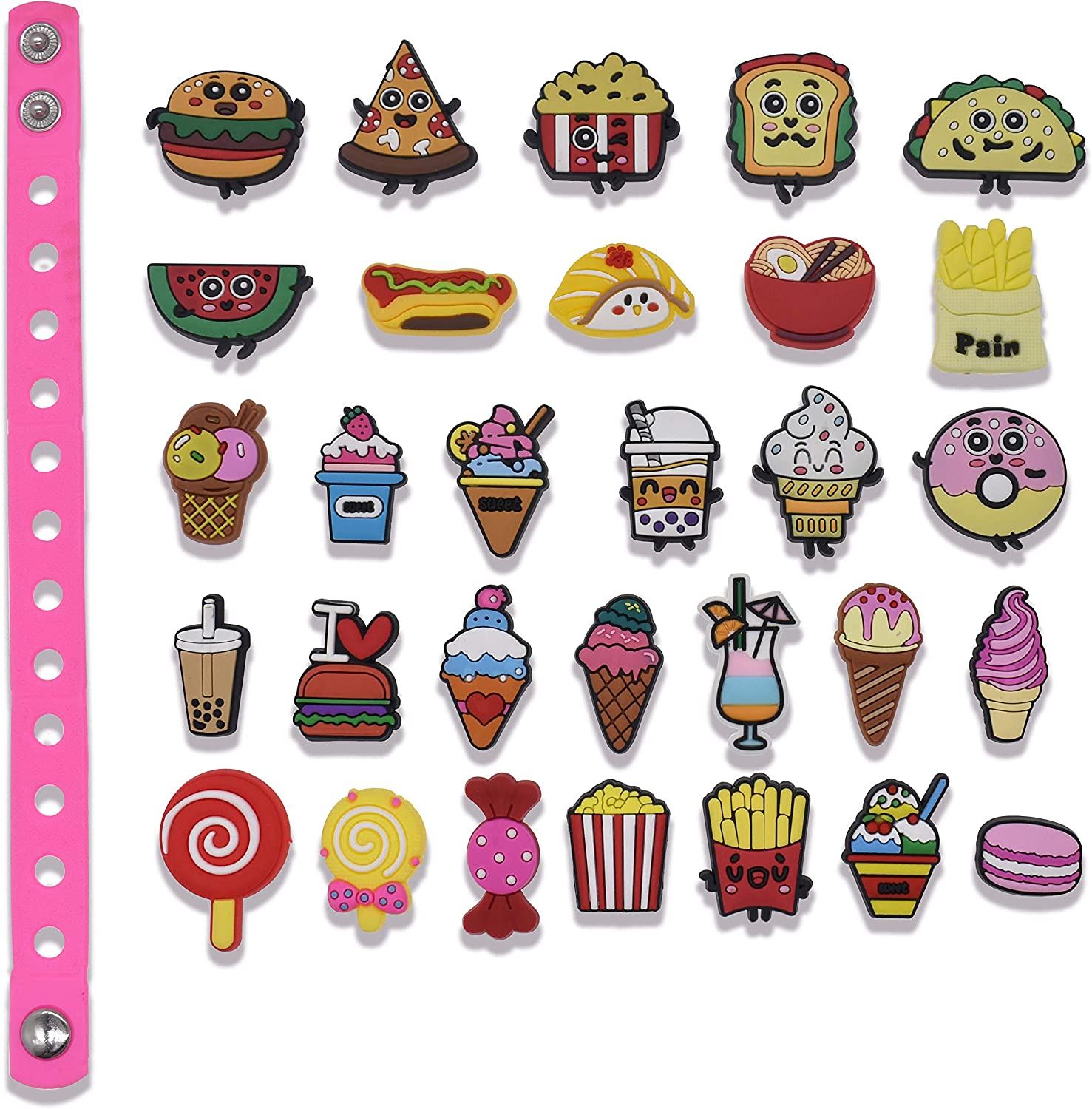 Different Shape Cute Food Shoes Charms for Shoes Wristband Bracelet Decoration Boy Girls Party Gifts