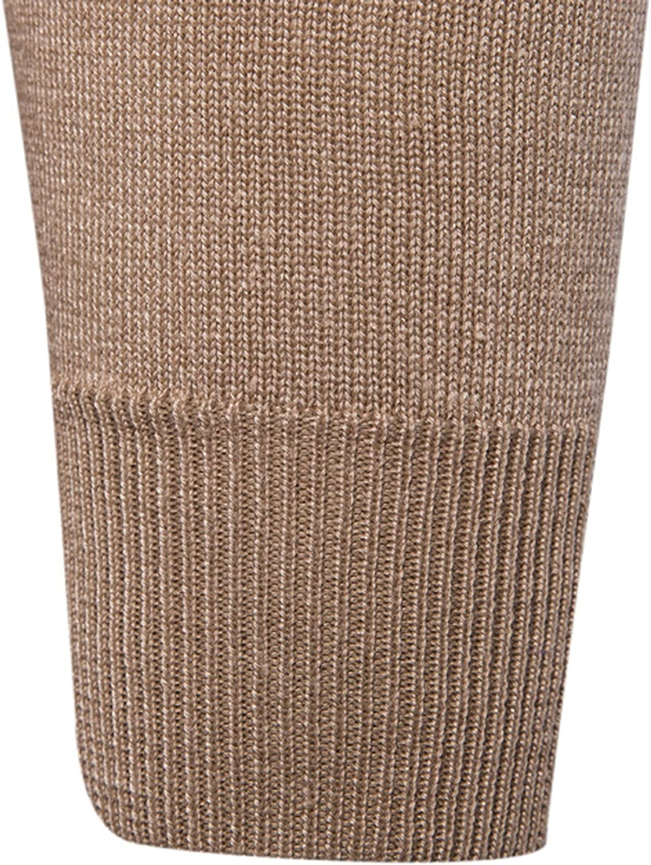Elonglin Men Cardigan Boy Knitted Sweater V-Neck Button Color Plain Cotton